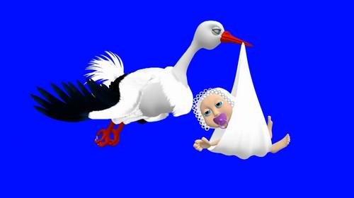 Картинка анимация аист несет ребенка